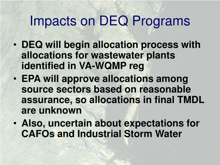 Impacts on DEQ Programs