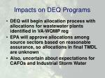 impacts on deq programs
