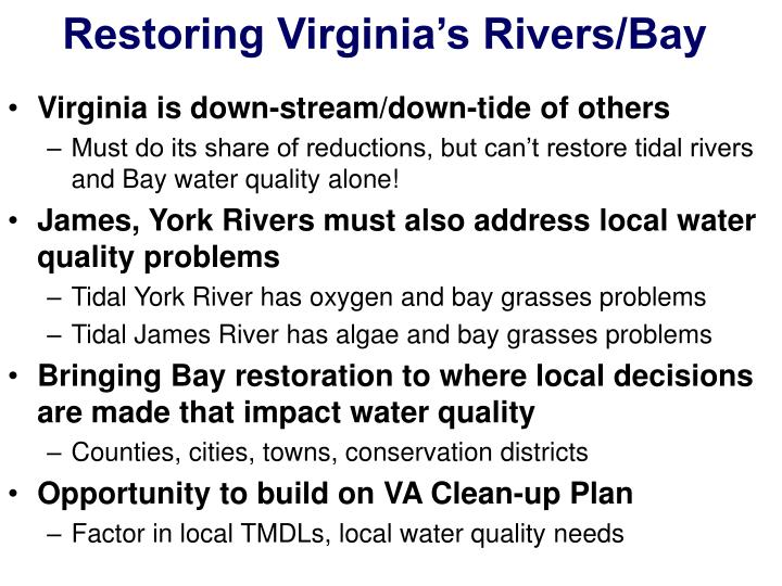 Restoring Virginia's Rivers/Bay