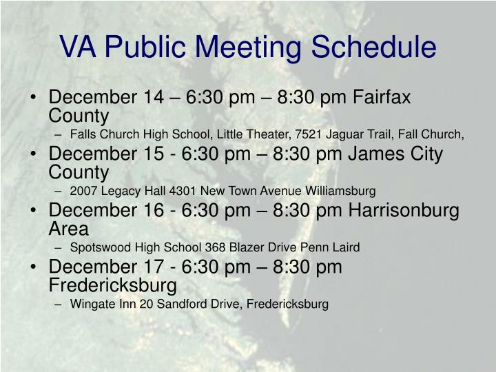 VA Public Meeting Schedule
