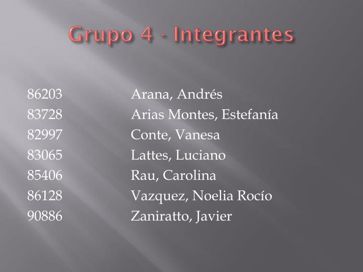 Grupo 4 - Integrantes
