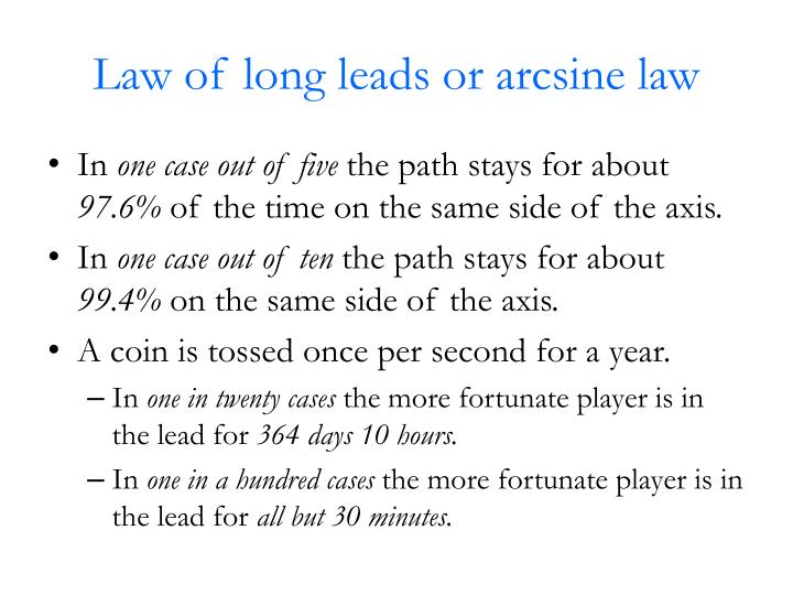 Law of long leads or arcsine law