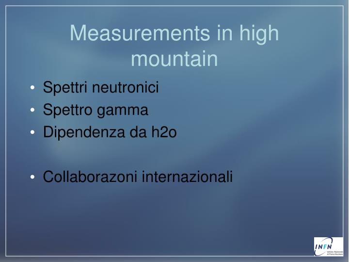 Measurements in high mountain