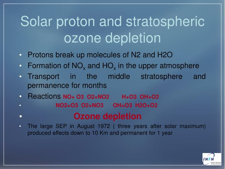 Solar proton and stratospheric ozone depletion