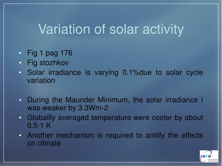 Variation of solar activity