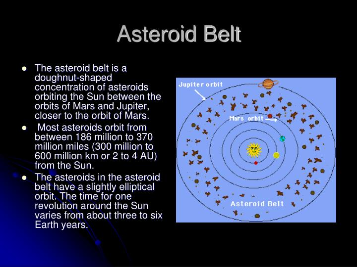 The asteroid belt is a doughnut-shaped concentration of asteroids orbiting the Sun between the orbits of Mars and Jupiter, closer to the orbit of Mars.