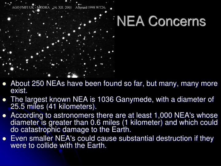 About 250 NEAs have been found so far, but many, many more exist.