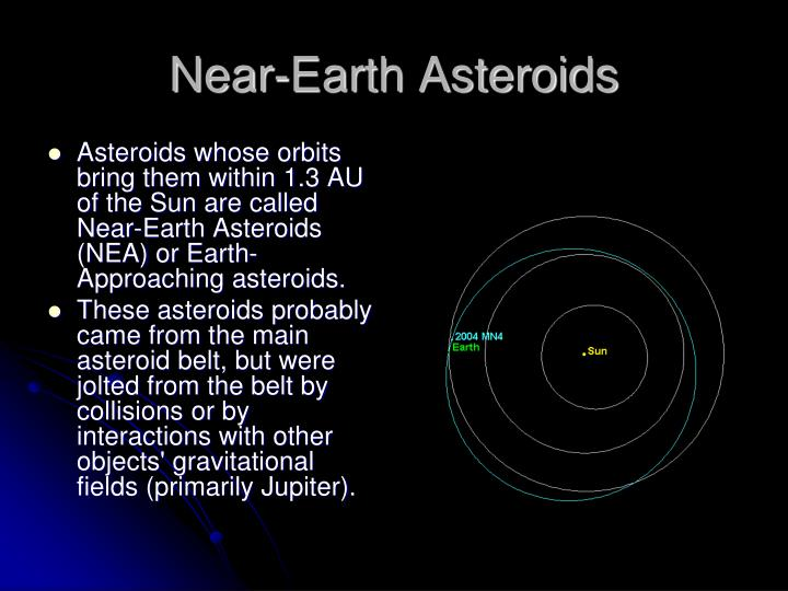 Asteroids whose orbits bring them within 1.3 AU of the Sun are called Near-Earth Asteroids (NEA) or Earth-Approaching asteroids.