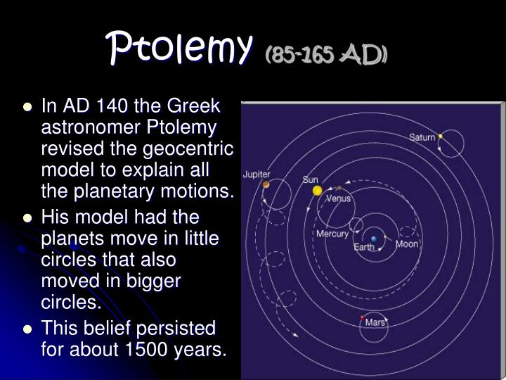 In AD 140 the Greek astronomer Ptolemy revised the geocentric model to explain all the planetary motions.
