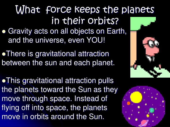 What  force keeps the planets in their orbits?