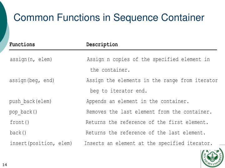 Common Functions in Sequence Container