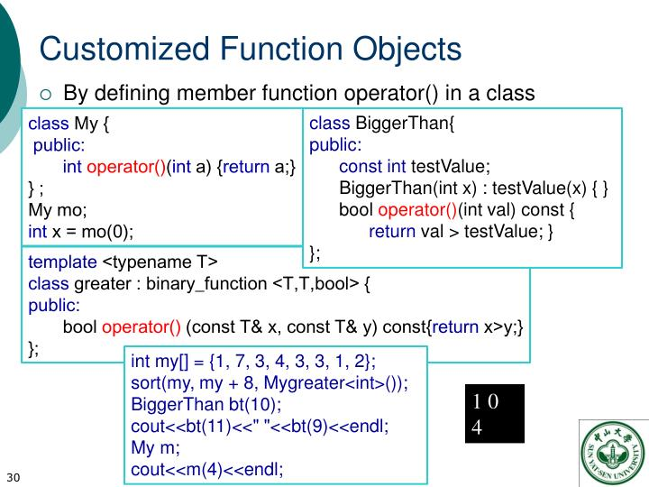 Customized Function Objects
