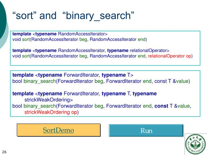 """sort"" and  ""binary_search"""