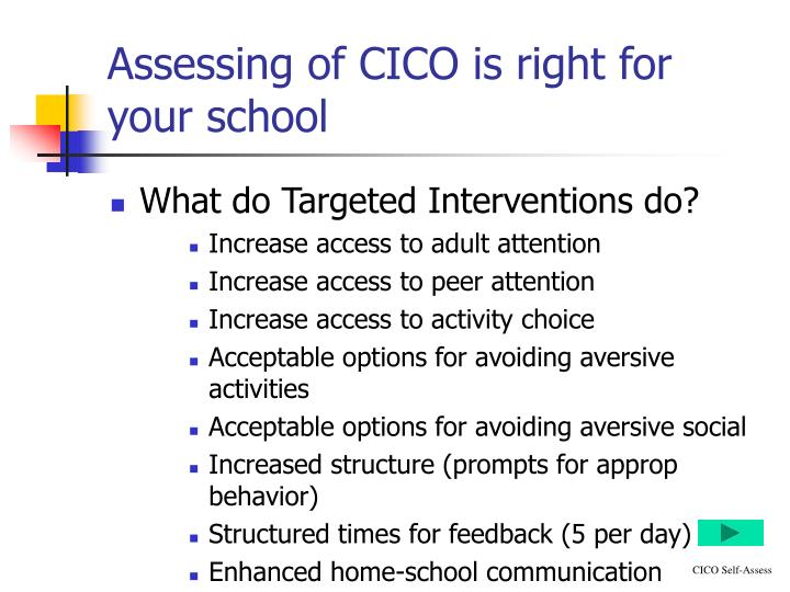 Assessing of CICO is right for your school