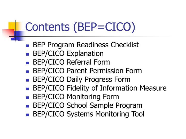 Contents (BEP=CICO)