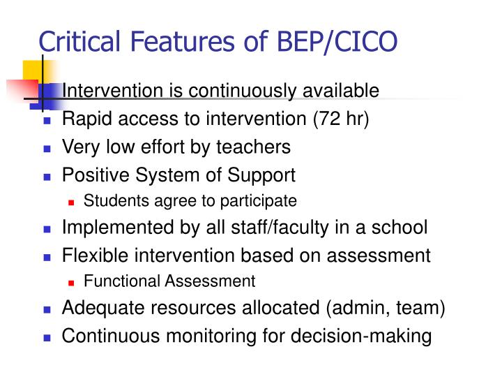 Critical Features of BEP/CICO