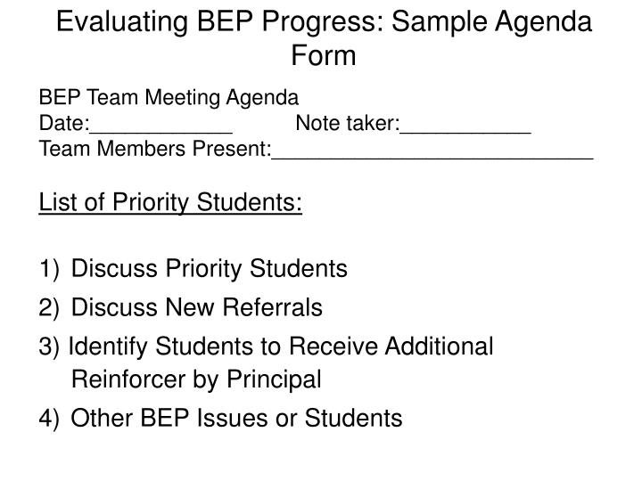 Evaluating BEP Progress: Sample Agenda Form