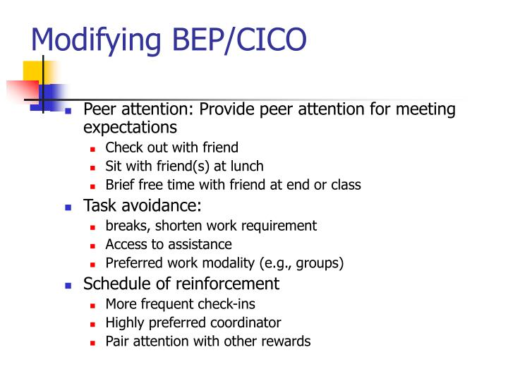 Modifying BEP/CICO