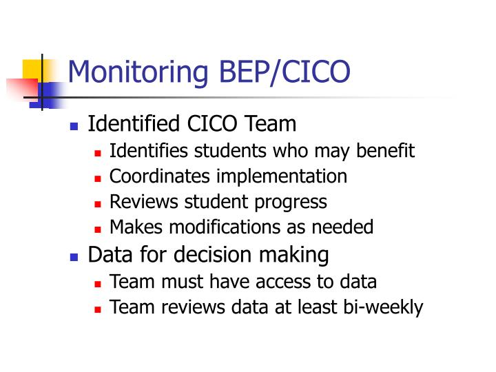 Monitoring BEP/CICO