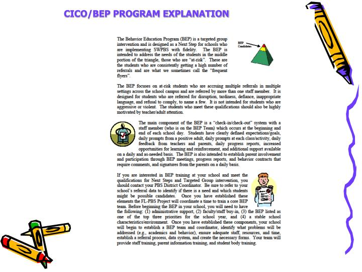 CICO/BEP PROGRAM EXPLANATION