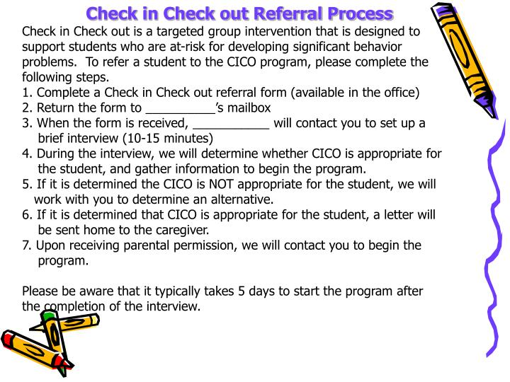 Check in Check out Referral Process