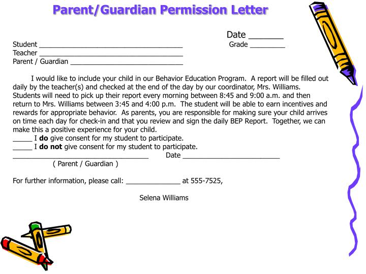 Parent/Guardian Permission Letter