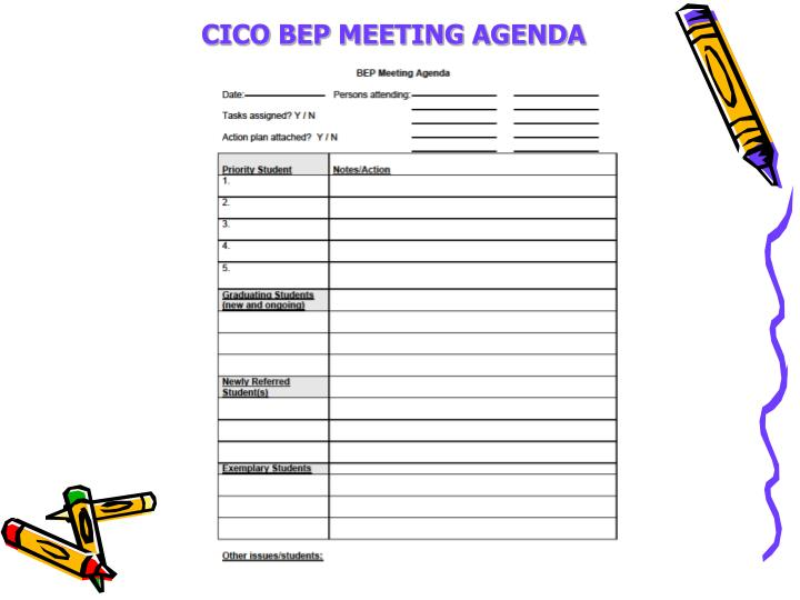 CICO BEP MEETING AGENDA