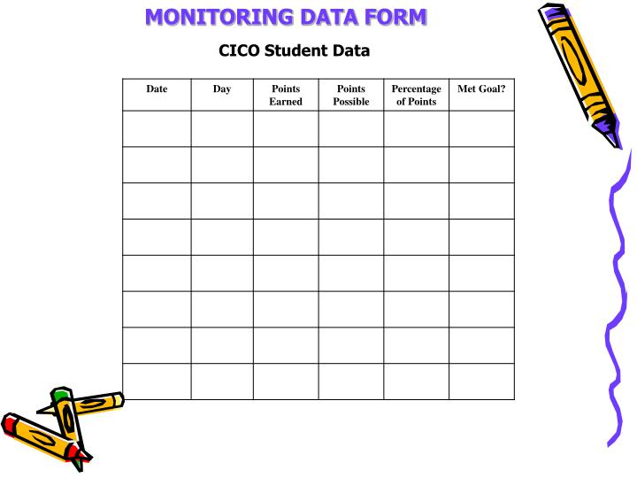 MONITORING DATA FORM