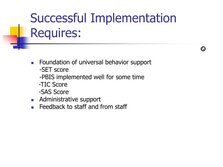 Successful Implementation Requires: