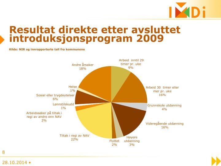 Resultat direkte etter avsluttet introduksjonsprogram 2009