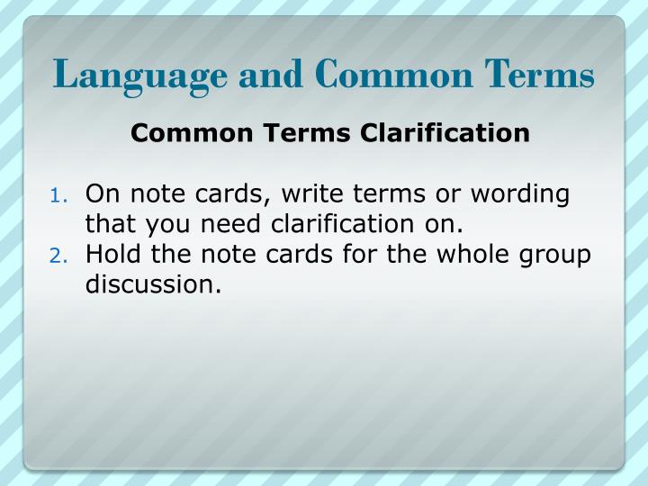 Language and common terms