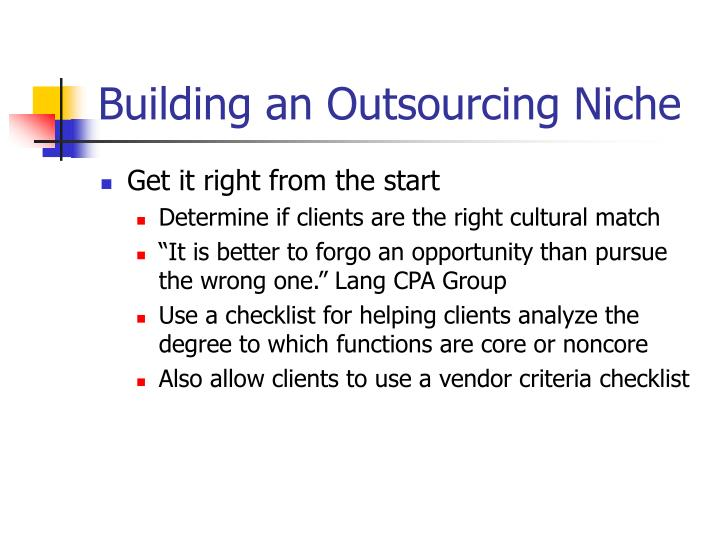 Building an Outsourcing Niche