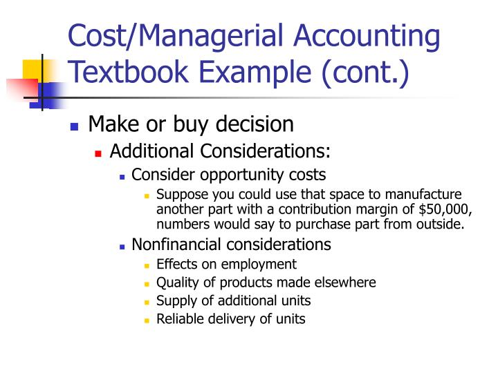 Cost/Managerial Accounting