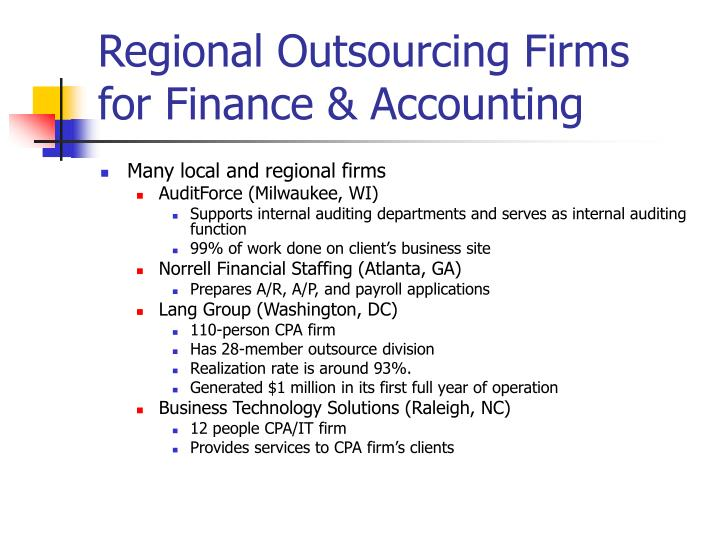 Regional Outsourcing Firms