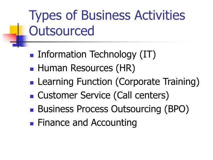 Types of Business Activities Outsourced