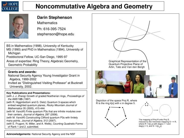 Noncommutative Algebra and Geometry