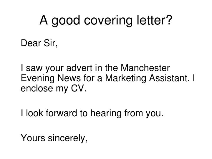 A good covering letter?