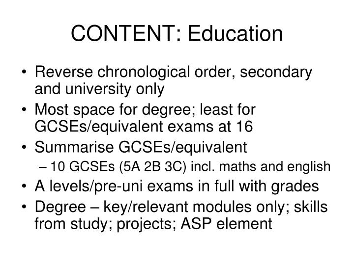CONTENT: Education
