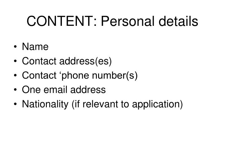 CONTENT: Personal details