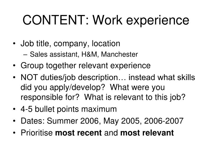 CONTENT: Work experience