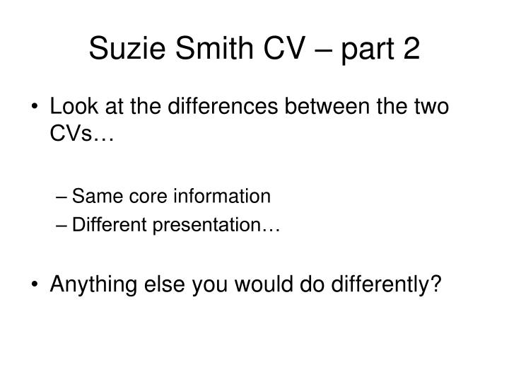 Suzie Smith CV – part 2