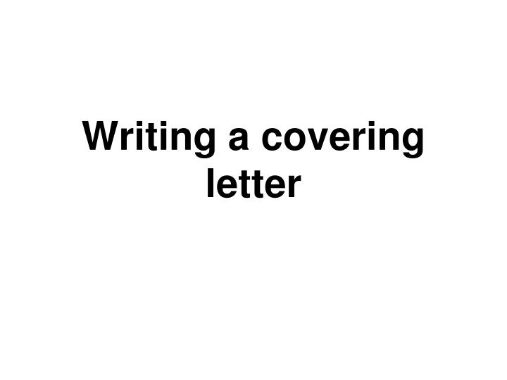 Writing a covering letter