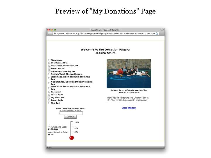 "Preview of ""My Donations"" Page"