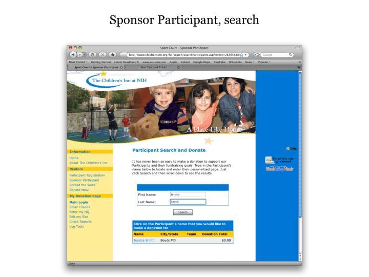 Sponsor Participant, search