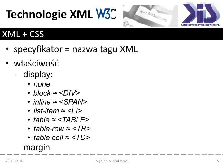 XML + CSS