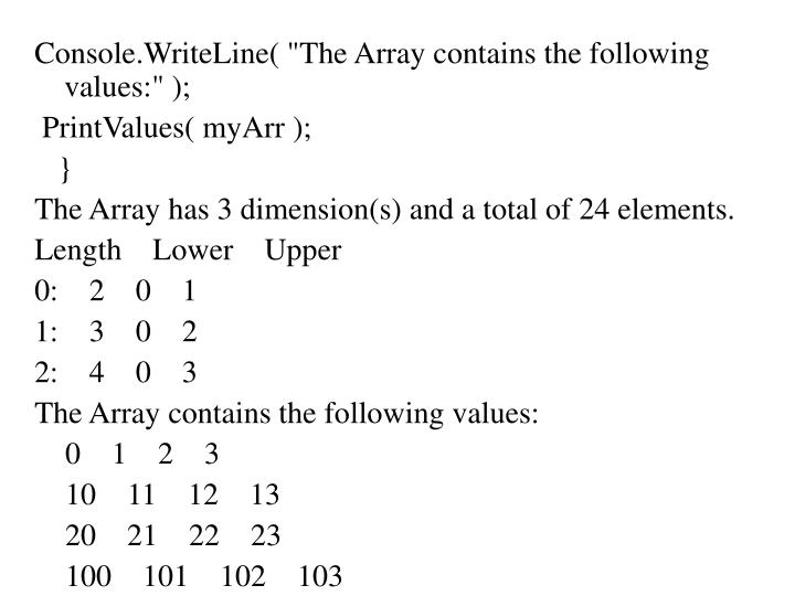 "Console.WriteLine( ""The Array contains the following values:"" );"