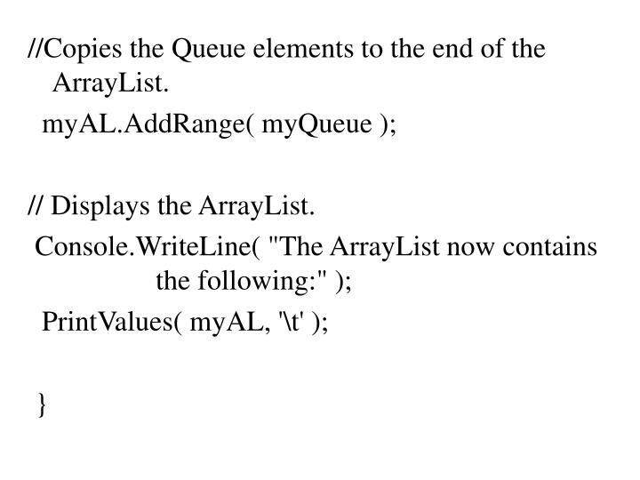 //Copies the Queue elements to the end of the ArrayList.