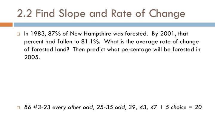 2.2 Find Slope and Rate of Change