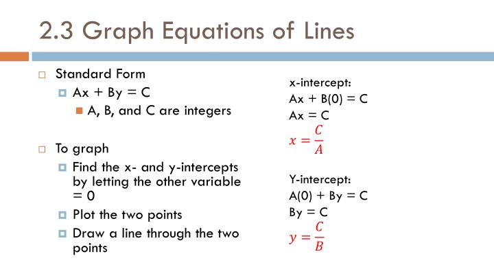 2.3 Graph Equations of Lines