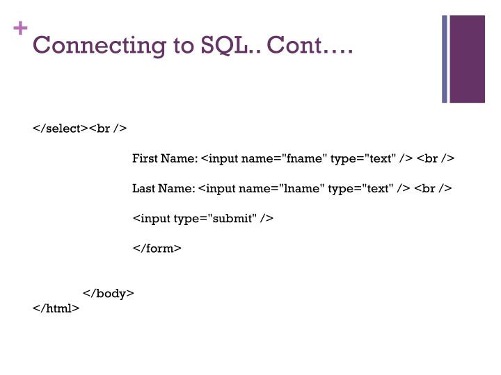 Connecting to SQL..